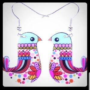 NWOT-Very Colorful, Acrylic, Bird Dangle Earrings